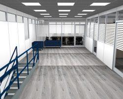 Rendering uffici su soppalco